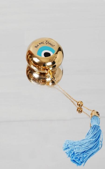 Δώρο για νεογέννητο χρυσή μπιζουτιέρα σιέλ με μάτι