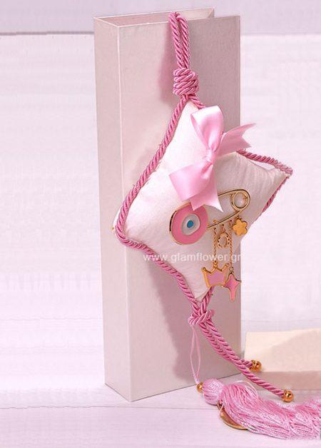 Δώρο για νεογέννητο γούρι μαξιλάρι με παραμάνα μάτι