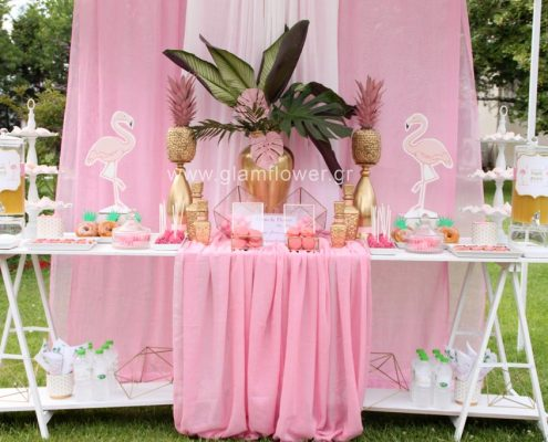 Γάμος τροπικός και βάπτιση με flamingo