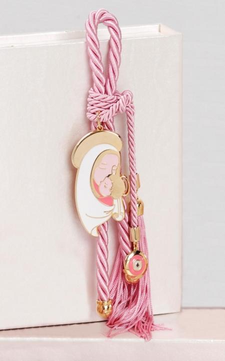 Δώρο για νεογέννητο γούρι Παναγία ροζ