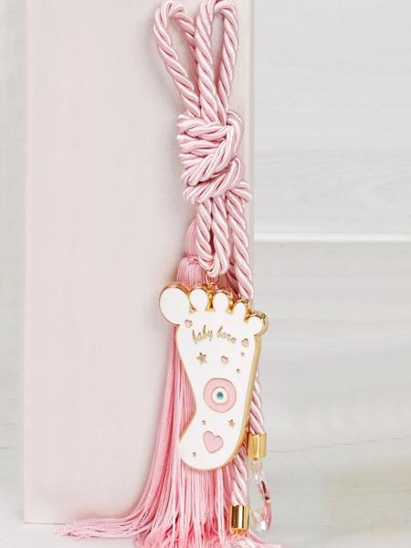 Δώρο για νεογέννητο γούρι πατούσα με κρύσταλλα
