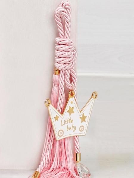 Δώρο για νεογέννητο γούρι κορόνα ροζ