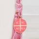 Δώρο για νεογέννητο γούρι με Κωνσταντινάτο ροζ σμάλτο