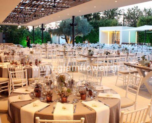 Στολισμός γάμου με γεωμετρικά σχήματα στο Κτήμα Μυρωνίδη