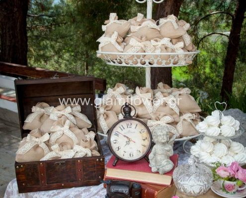 Vintage romantic wedding decoration in Chalkidiki.