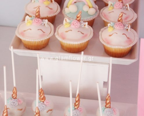 Cup cakes με θέμα μονόκερος