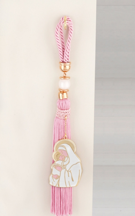 Δώρο για νεογέννητο γούρι Παναγία ροζ πέρλες