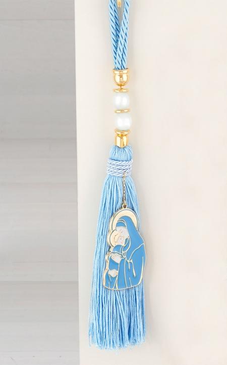 Δώρο για νεογέννητο γούρι Παναγία σιέλ πέρλες