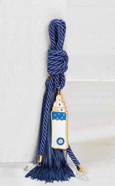 Δώρο για νεογέννητο γούρι μπλε μπιμπερό με κρύσταλλα