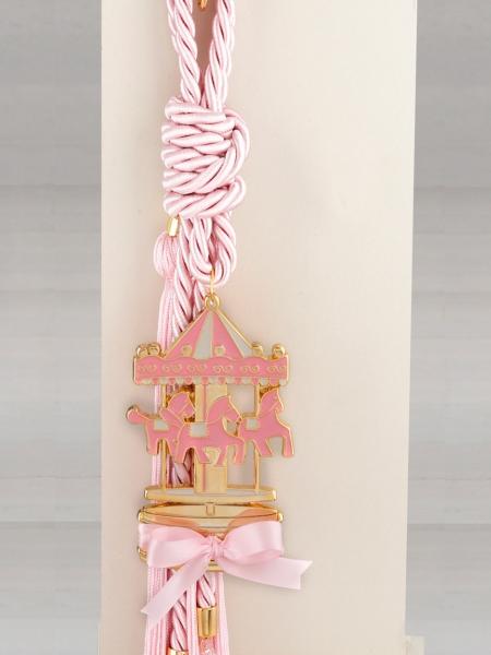 Δώρο για νεογέννητο γούρι ροζ καρουζέλ