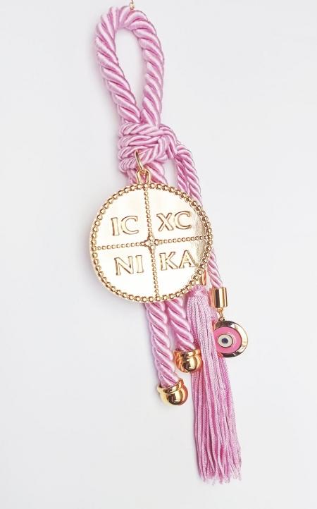 Δώρο για νεογέννητο γούρι ροζ με Κωνσταντινάτο