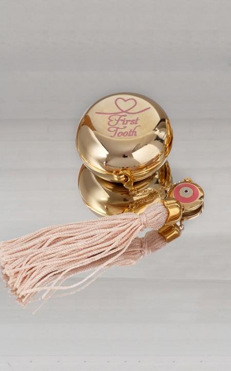 Δώρο για νεογέννητο χρυσή θήκη δοντιού με ροζ τύπωμα